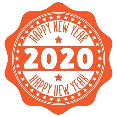 2020 Happy New Year Rubber Stamp on white Ilustração