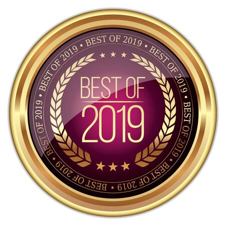 Best of 2019. Vector Golden Badge. Vectores