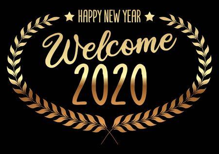 Welcome 2020. Golden Wreath on Black Background.