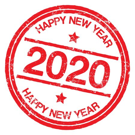 2020. Happy New Year stamp on white