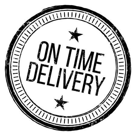 On Time Delivery Rubber Stamp on white Ilustração