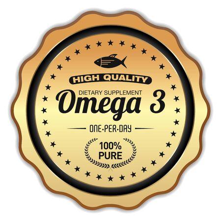 Omega 3 Golden Badge on white