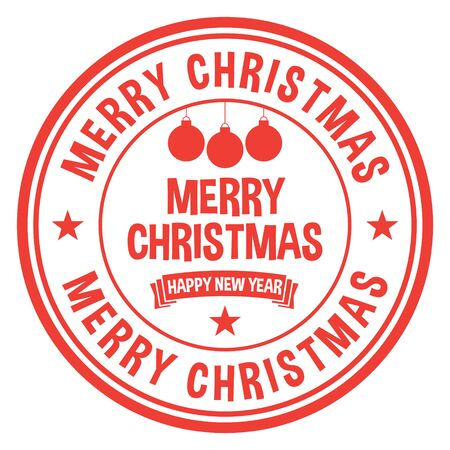 Merry Christmas Stamp on white
