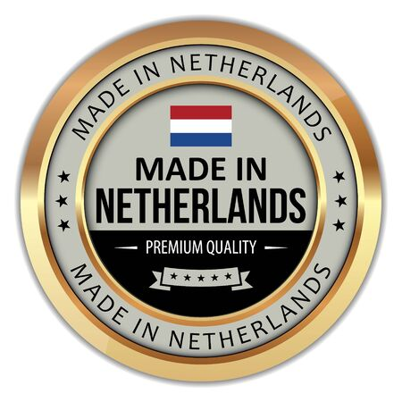 Made In Netherlands badge on white