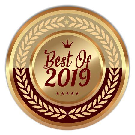 Best Of 2019 Golden badge on white Ilustração