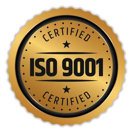 Insignia de insignia certificada ISO 9001 en blanco
