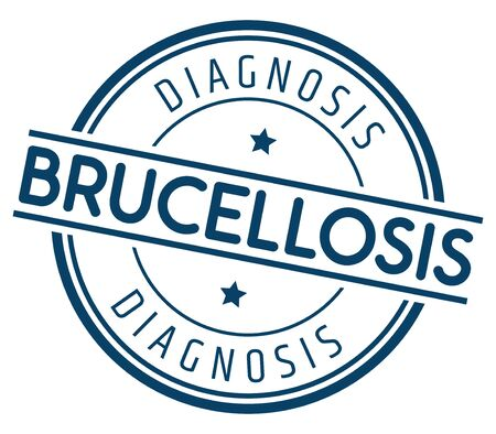 Diagnosis Brucellosis. Vector Blue Stamp.