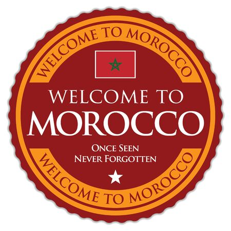 Welcome to Morocco. Vector Sticker. Иллюстрация