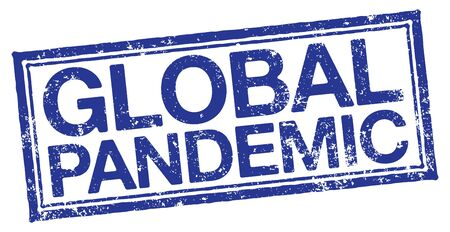 Global Pandemic Rubber Stamp on white