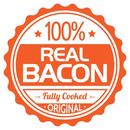 100% Real Bacon Rubber Stamp on white