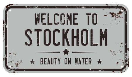Welcome To Stockholm Message on Damaged License Plate Ilustração