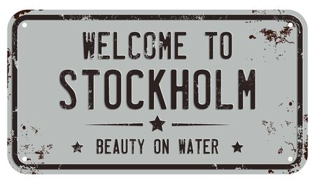 Welcome To Stockholm Message on Damaged License Plate Illustration