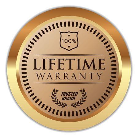Lifetime Warranty Vector Golden Badge.