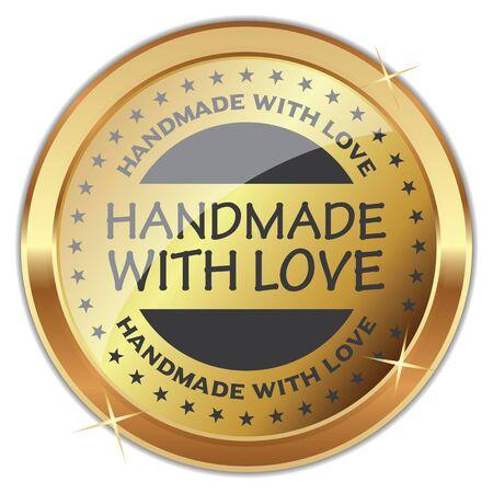 Handmade With Love. Vector Golden Badge.
