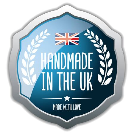 Handmade in The UK. Vector Silver Badge.