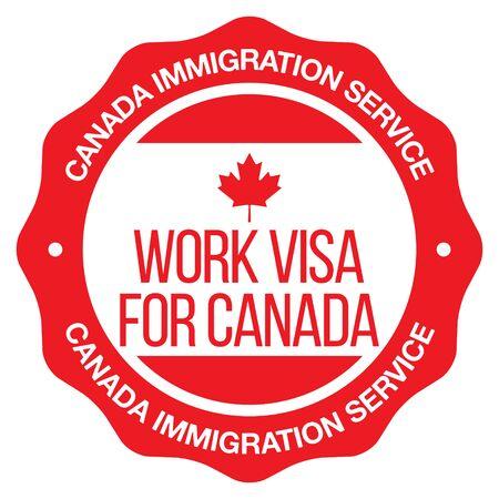 Work Visa For Canada. Vector Seal. Ilustração