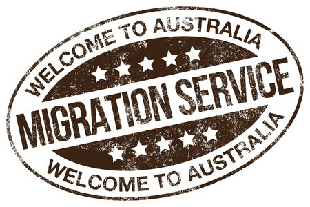Migration Service. Welcome To Australia. Vector Stamp.