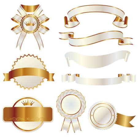white and gold ribbon  イラスト・ベクター素材