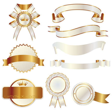 ribbon: white and gold ribbon Illustration