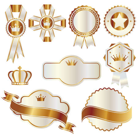 set of gold and white emblem Vector
