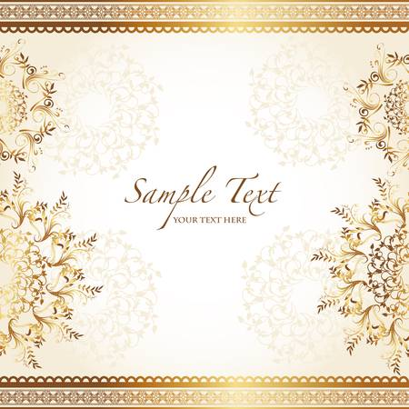 wedding card design: golden abstract background