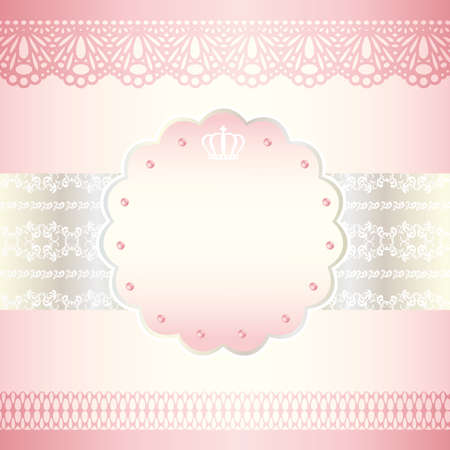 pink ribbons: pink frame card Illustration