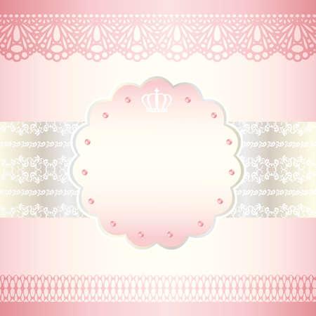 pink wedding: pink frame card Illustration