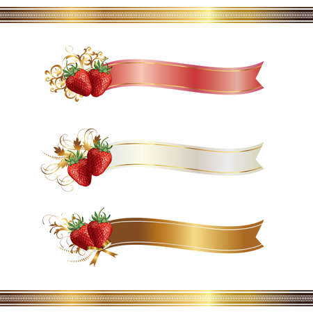 ribbon with strawberry Vector