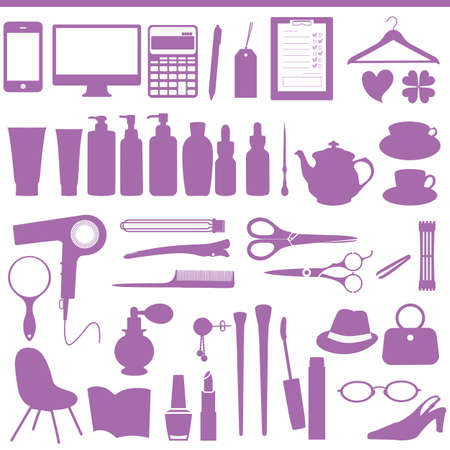 hair salon set Vector