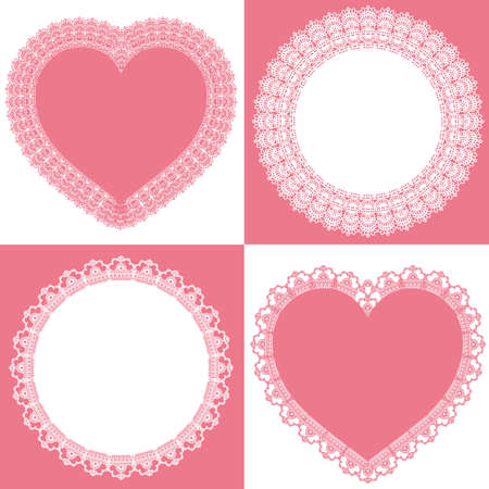 circle and heart lace Vector
