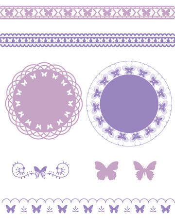 butterfly line and frame set Vector