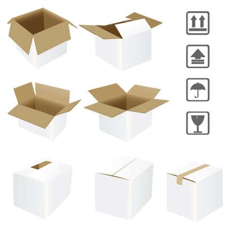 verhuis dozen: golfkarton doos Stock Illustratie