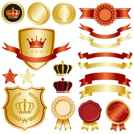 crown king: gold and red emblem set Illustration