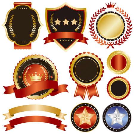 commendation: gold and red emblem set Illustration