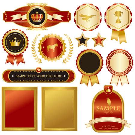 gold and red emblem set  イラスト・ベクター素材