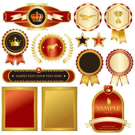 gold and red emblem set Vector
