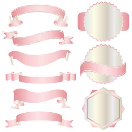and pink ribbon: set of pink ribbon Illustration