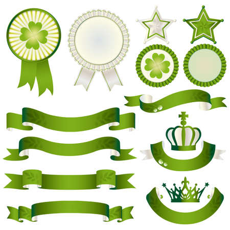 set of eco with ribbon and emblem Vector
