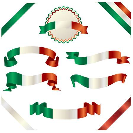 set of italian ribbon Vector