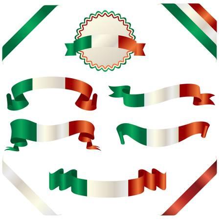 set of italian ribbon 向量圖像