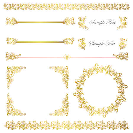 gold frame and line set Stock Vector - 11650292