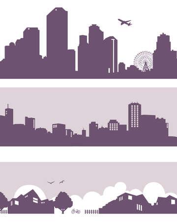 silhouette maison: la ville et la ville Illustration