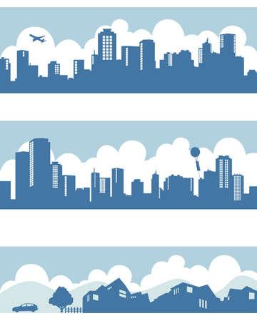 edificios: pueblo y ciudad Vectores