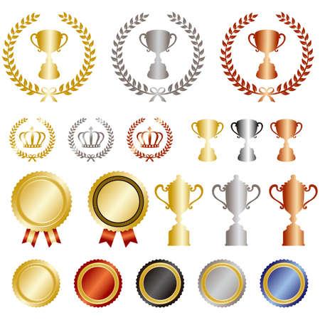 goldmedaille: Gold, Silber, Bronze Rang gesetzt Illustration
