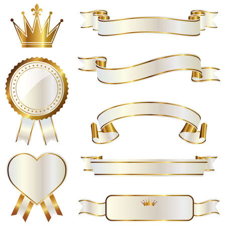 heart and crown: emblema set nastro Vettoriali