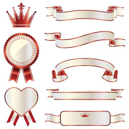 ribbon emblem set  イラスト・ベクター素材