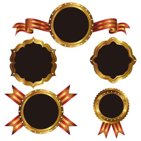 emblem set gold Vector