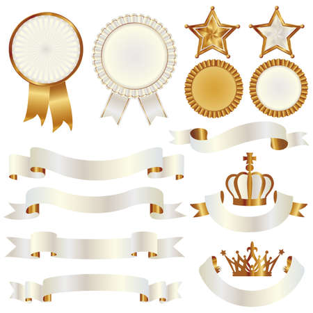 set of ribbon and emblem Stock Vector - 11650194