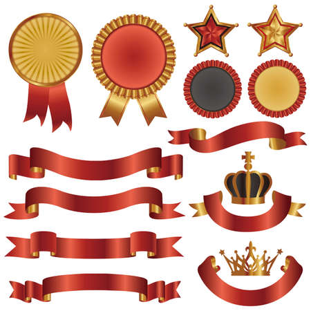 set of ribbon and emblem Vector