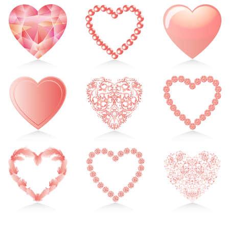corazon rosa: conjunto de coraz�n de color rosa